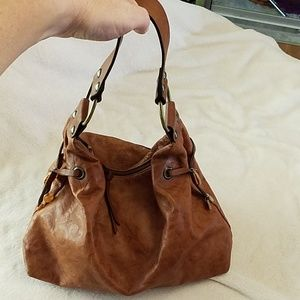 Floral embossed leather hobo
